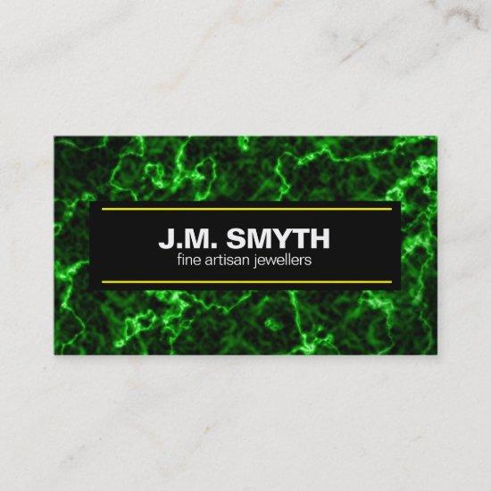 Elegant Black Marble with Phosphorus Green Veins Business Card