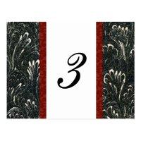 Elegant Black, Red, White Table Number Card | Zazzle