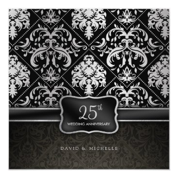 Elegant Black & Silver 25th Wedding Anniversary Invitation
