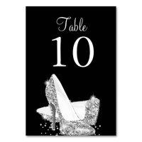 Elegant Black Silver Heels Table Number Card | Zazzle.com