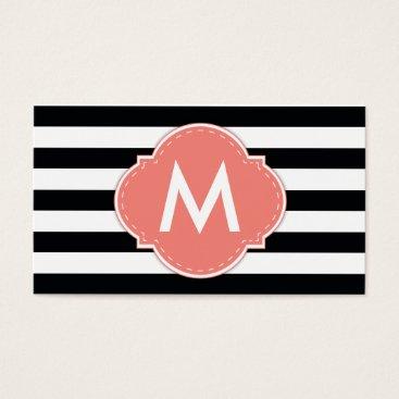 Elegant Black Stripe with Coral Pink Monogram Business Card