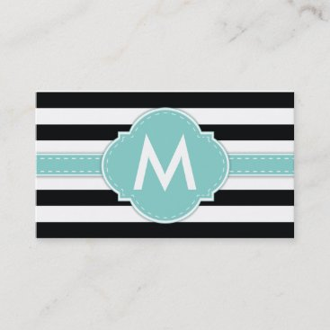 Elegant Black Stripe with Light Blue Monogram Business Card