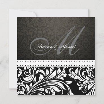 Elegant Black & White Damask Monogram Invitation