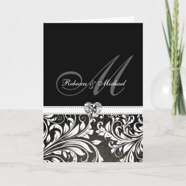 Elegant Black & White Damask Monogram Invitations