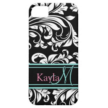 Elegant Black & White Damask Pattern with Monogram iPhone SE/5/5s Case