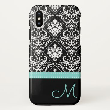 Elegant Black & White Damask Pattern with Monogram iPhone X Case