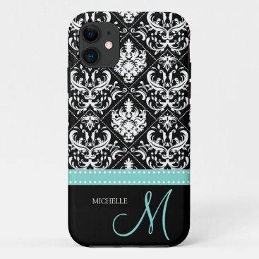Elegant Black & White Damask Pattern with Monogram iPhone 11 Case