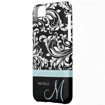 Elegant Black & White Damask Pattern with Monogram iPhone 5C Cover