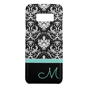 Elegant Black & White Damask Pattern with Monogram Case-Mate Samsung Galaxy S8 Case
