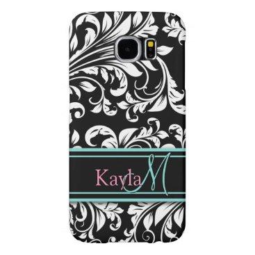 Elegant Black & White Damask Pattern with Monogram Samsung Galaxy S6 Case