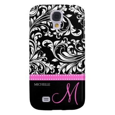 Elegant Black & White Damask Pattern with Monogram Samsung S4 Case