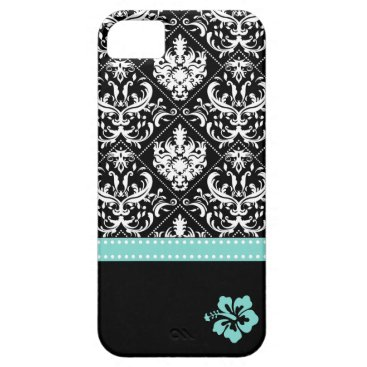 Elegant Black & White Damask with Hibiscus iPhone SE/5/5s Case