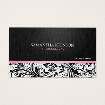 Elegant  Black & White Floral Damask w/ pink Business Card