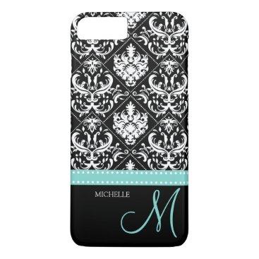 Elegant black & white vintage damask with monogram iPhone 8 plus/7 plus case
