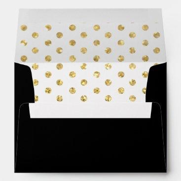 Elegant Black with Gold Polka Dots Patterns Envelope