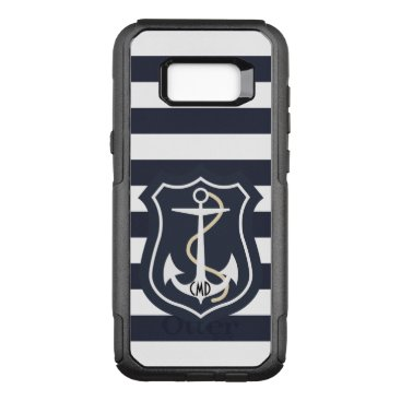 Elegant Blue And White Stripes With Anchor OtterBox Commuter Samsung Galaxy S8  Case