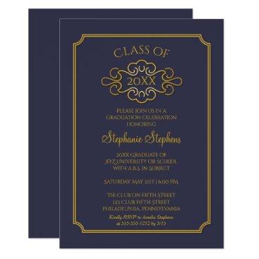 Elegant Blue | Gold College Graduation Party Invitation