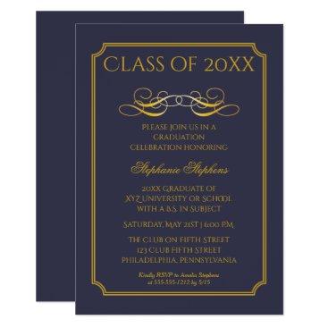 Elegant Blue | Gold University Graduation Party Invitation