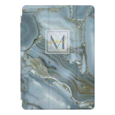 Elegant Blue Marble Natural Stone Pattern Monogram iPad Pro Cover