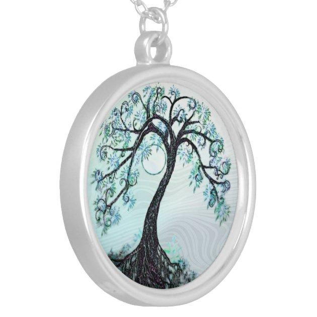 Elegant Blue Tree of life Necklace Zazzle