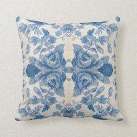 Elegant blue vintage floral throw pillows | Zazzle