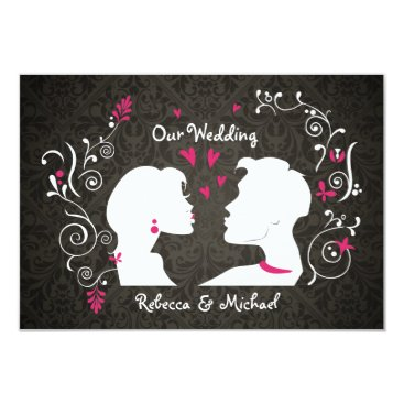 """Elegant Bride and Groom """"pucker up"""" RSVP cards"""