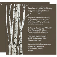 Elegant Brown with Birch Trees Wedding Invitation