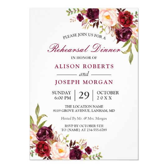 Elegant Burgundy Fl Wedding Rehearsal Dinner Card