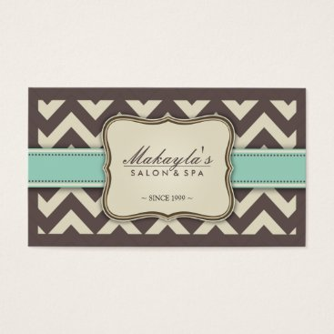 Elegant Chevron Brown, Green and Beige Appointment Business Card
