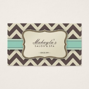 Elegant Chevron Modern Brown, Green and Beige Business Card