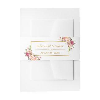 Elegant Chic Pink Fl Gold Frame Wedding Invitation Belly Band