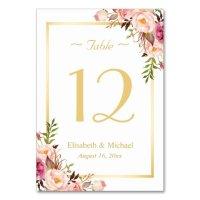 Elegant Chic Pink Floral Gold Wedding Table Number Card ...