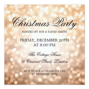 Elegant Christmas Party Copper Glitter Lights Card