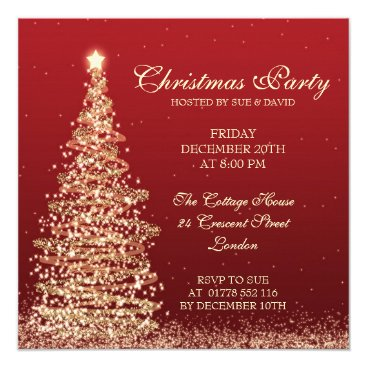 Elegant Christmas Party Red Invitation