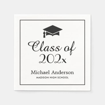 Elegant Class of 2021 Grad Cap Graduation Party Paper Napkins