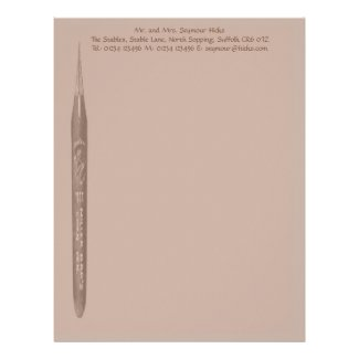 Elegant Coffee Pen Nib Stationery Custom Letterhead