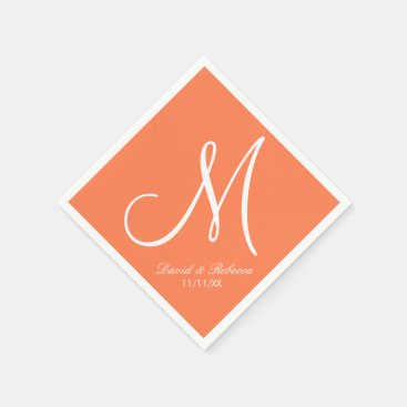 Elegant Coral and white Monogram Paper Napkin