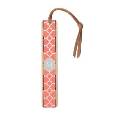 Elegant Coral Pink &White Quatrefoil with monogram Bookmark
