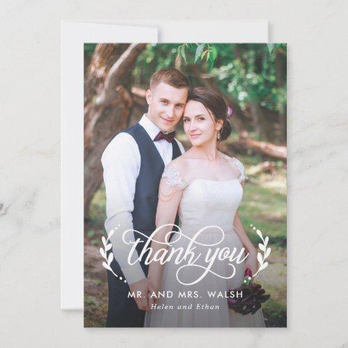 Elegant Couple Wedding Photo Thank You Card