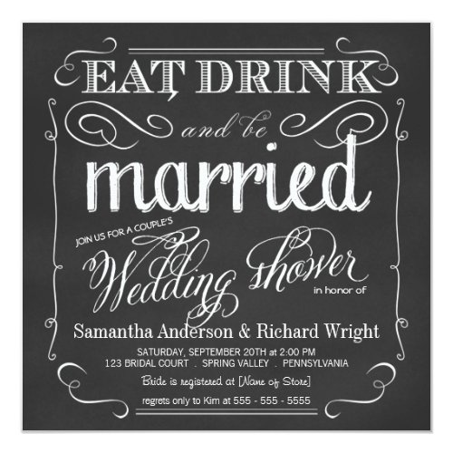 Elegant Couple&#39&#x3B;s Wedding Shower Invitations