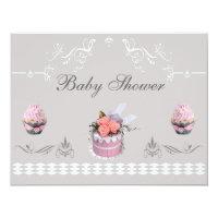 Elegant Cupcakes Pink & Grey Baby Shower Card