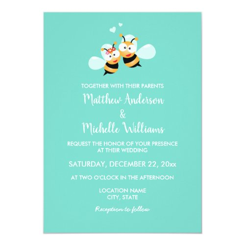 Elegant Cute Mint To Bee Pastel Wedding Invitation