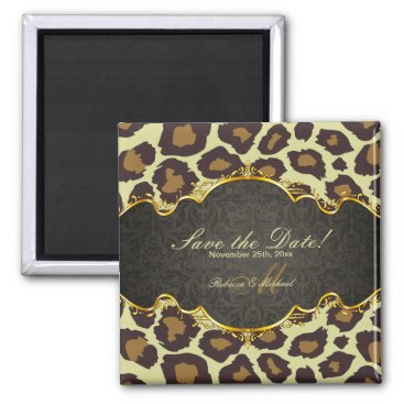 Elegant Damask Leopard Save the Date  Magnets