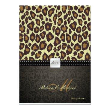 Elegant Damask Leopard Wedding Invitation