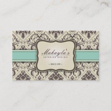 Elegant Damask Modern Brown, Green and Beige Business Card