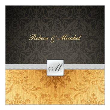 Elegant Damask Monogram black and gold Wedding Invitation