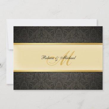 Elegant Damask Monogram Wedding Black and Gold Invitation