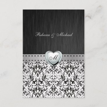 Elegant Damask Monogram Wedding RSVP Card