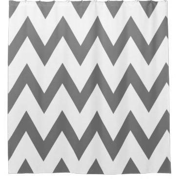 Elegant Dark Gray and White Chevron Patterns Shower Curtain