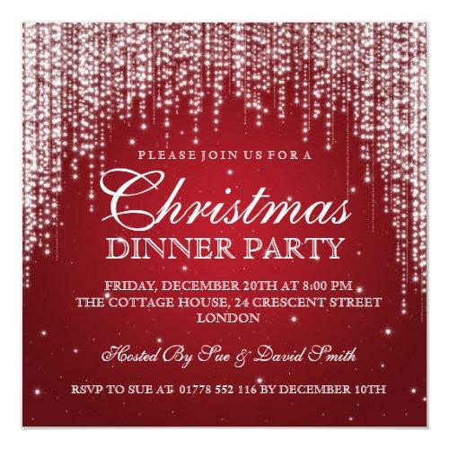 Elegant Dazzle Christmas Holiday Party Red Invitation